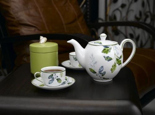 Bộ bình trà 0,8L Camelia lá xanh