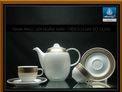Bộ bình trà 0,7L Sen xanh