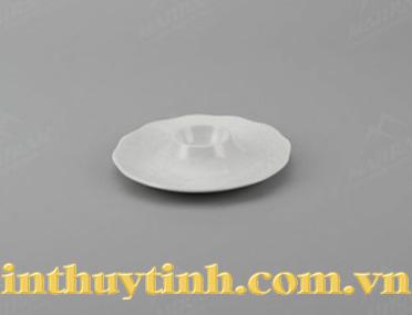 Dĩa ăn trứng Gốm sứ Minh Long Sen trắng 13cm