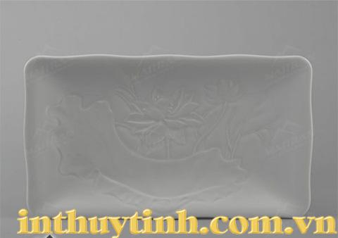 Dĩa chữ nhật  Sen trắng 30x17cm